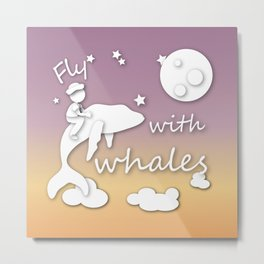 boy flying with whale Metal Print