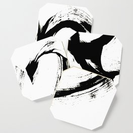 Brushstroke 6: a minimal, abstract, black and white piece Coaster