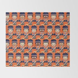 Super cute sports stars - Ice Hockey Orange and Blue Throw Blanket