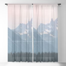 Pink Cascades - Mountain Nature Landscape Photography Sheer Curtain