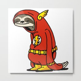 Funny Sloth Shirt The Flash The Neutral Metal Print