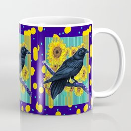 Sunflowers & Sun Spots Inky Blue Crow Modern Abstract Coffee Mug