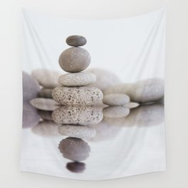 Stone Balance pebble cairn and water Wall Tapestry