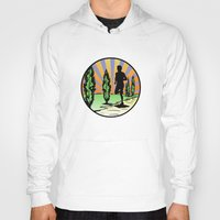 running Hoodies featuring Running by Paul Simms