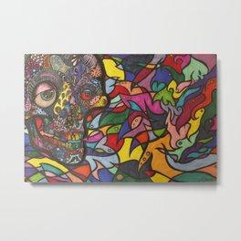 Zen Tangle Skull Metal Print