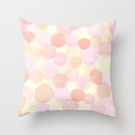 Pink and coral-red dots overprint pattern Throw Pillow