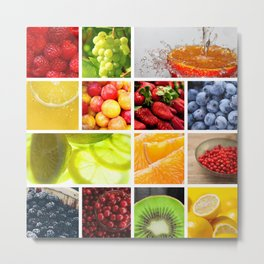 Colorful & Vibrant Fruit Collage Metal Print