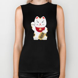 Good luck cat pattern/ red Maneki-neko Biker Tank