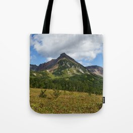Scenery autumn panoramic mountain landscape of Kamchatka Peninsula Tote Bag