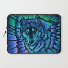 Blue Wolf Aurora Colorful Fantasy Laptop Sleeve