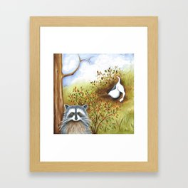 Silly Dog  Jack Russell Terrier, Raccoon, Landscape Painting, Original Art Framed Art Print
