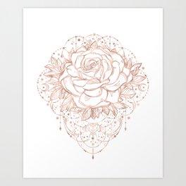 Mandala Lunar Rose Gold Art Print