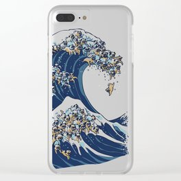 The Great Wave of Pug Clear iPhone Case