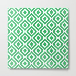 Mid Century Modern Diamond Ogee Pattern 139 Green Metal Print