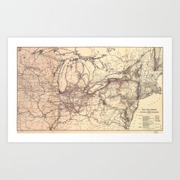 New York Central & Hudson River Railroad Map (1900) Art Print