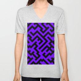 Black and Indigo Violet Diagonal Labyrinth Unisex V-Neck