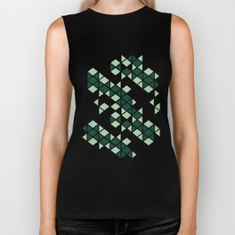 Forest Green -  Geometric Triangle Pattern Biker Tank