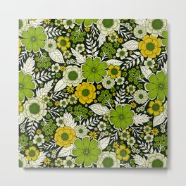 Modern Yellow & Green Floral Pattern Metal Print