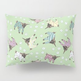 Pajama'd Baby Goats - Green Pillow Sham