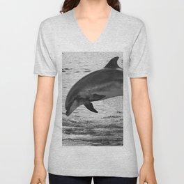 Jumping wild bottlenose dolphin black and white Unisex V-Neck