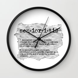Senioritis Definition High School Procrastination Wall Clock
