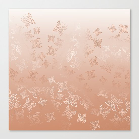 Rose Gold Butterflies Pattern Canvas Print