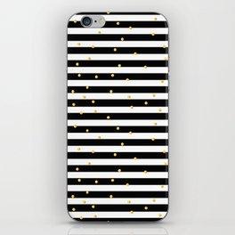 Modern black white gold polka dots striped pattern iPhone Skin