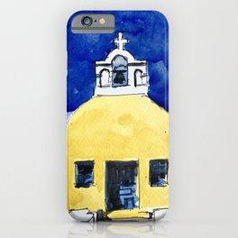 Santorini Yellow Chapel Greece iPhone Case