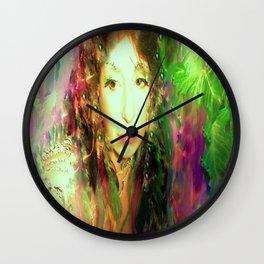 Fairy feather head dress fairy goddess green feathers belly dancer kashmir,art print Wall Clock