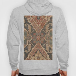Geometric Leaves II // 18th Century Distressed Red Blue Green Colorful Ornate Accent Rug Pattern Hoody