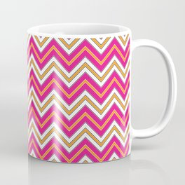 Chevron Pattern | Zig Zags | Pink, Orange, Black and White | Coffee Mug