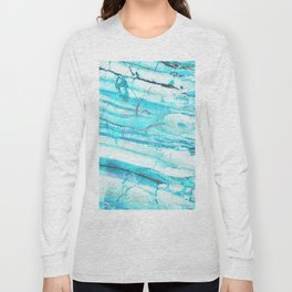 White Marble with Blue Green Veins Long Sleeve T-shirt