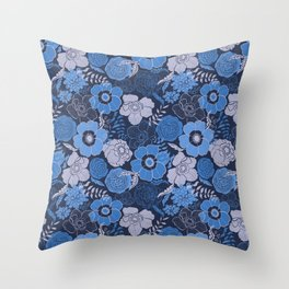 blue anemones and roses Throw Pillow