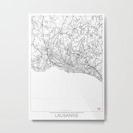 Lausanne Map White Metal Print