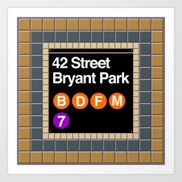 subway bryant park sign Art Print