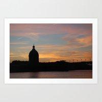 Coucher de soleil Toulouse. France  Art Print