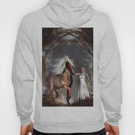 Fantasy horse with beautiful fantasy women Hoody