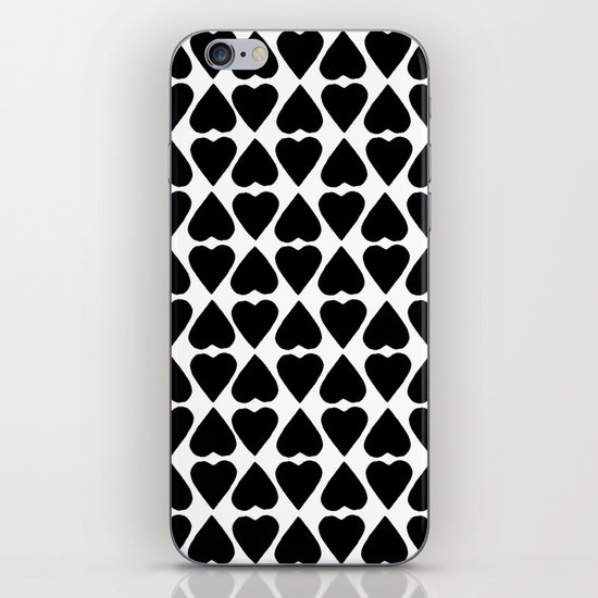 Diamond Hearts Repeat Black iPhone & iPod Skin