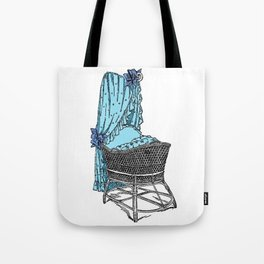 Retro Style Blue Baby Bassinet Tote Bag