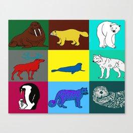 Arctic animals pop art Canvas Print