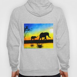 African Sunset Elephant Silhouette Hoody