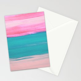 Abstract pink teal peach acrylic paint brushstrokes Stationery Cards