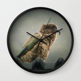Kea in the Rain Wall Clock