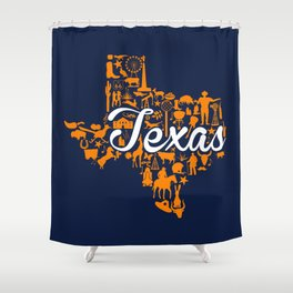 UTEP Texas Landmark State - Blue and Orange UTEP Theme Shower Curtain