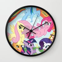my little pony Wall Clocks featuring My Little pony by Paul Abstruse