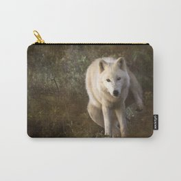 White wolf having a pee Carry-All Pouch