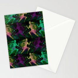 Watercolor women runner pattern on Dark Background Stationery Cards