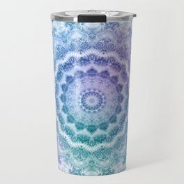 White Mandala on Teal, Purple and Navy Travel Mug