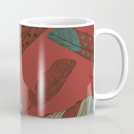Red Autumn Painted Feathers Coffee Mug