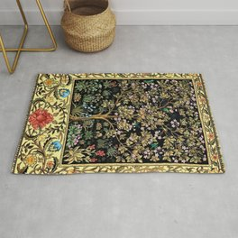 William Morris Northern Garden with Daffodils, Dogwood, & Calla Lily Floral Textile Print Rug